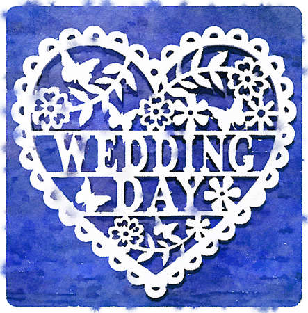 Digital watercolor painting of a decorative wedding day heart on a blue background.