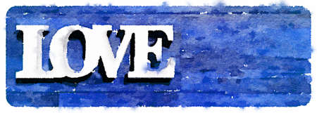 Digital watercolor painting of the word love on a blue background. Space for text.