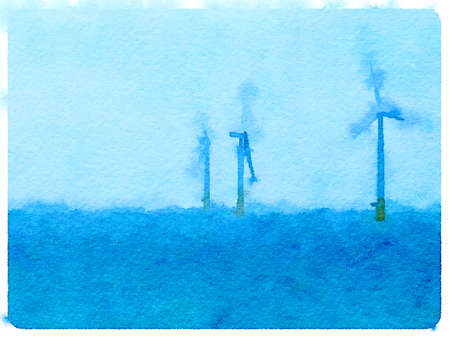 Digital watercolor painting of three wind turbines in water with space for text.