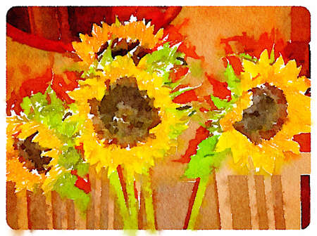 Digital watercolor painting of sunflowers indoors with space for text.