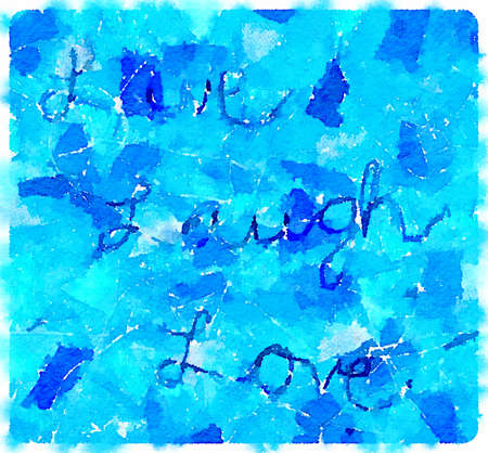 Digital watercolor painting of the text Live, Laugh Love on a blue textile fabric background.