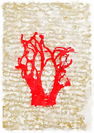 Digital watercolor painting of a red free-machine embroidered tree without any leaves on a gold knitted background. With space for text.