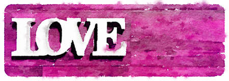 Digital watercolor painting of the word love on a pink background. Space for text. Imagens