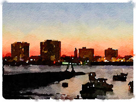 Digital watercolor painting of a skyline at night as the sun is setting with boats anchored in the river. Space for text.