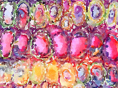 Digital watercolor painting of pink, yellow and purple egg shapes created in stitch and then transformed into a painted abstract background. Imagens