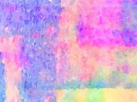 Digital watercolor painting of a pink, purple, blue, green, orange and yellow painted abstract background. Can be used as a background for Valentine�s Day or Easter.
