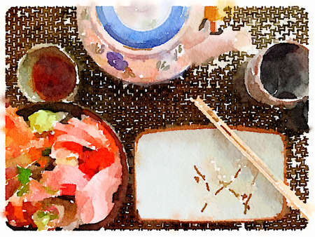 Digital watercolor painting of a Japanese place setting with a bowl of rice and fish, a bowl with soy sauce, a dish with chopsticks resting on it, a teapot, a cup and a small cup for sake. with space for text. Imagens