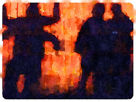 Digital watercolor painting of four people creating shapes as silhouettes. Two people creating a four arm person. Orange background and space for text.