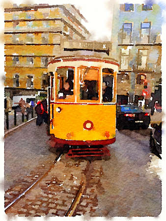 Digital watercolor painting of a traditional vintage yellow tram in Lisbon, Portugal, traveling through the city with the tram line showing. Imagens