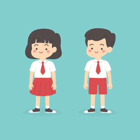 mignon, indonésien, école primaire, garçon, girl, porter, rouges, et, blanc, uniforme, dessin animé, vecteur, illustration