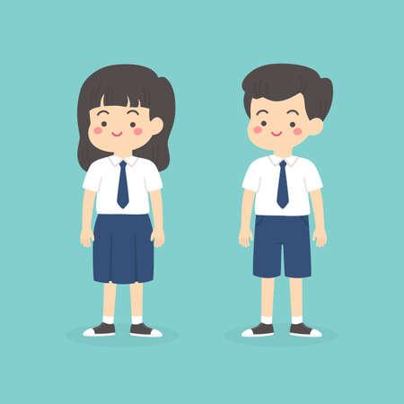 Cute indonésien Junior High School Boy Girl vêtu d'un uniforme bleu et blanc Cartoon Vector Illustration Vecteurs