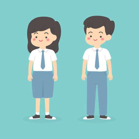 mignon, indonésien, lycéen, garçon, girl, porter, gris, et, blanc, uniforme, dessin animé, vecteur, illustration