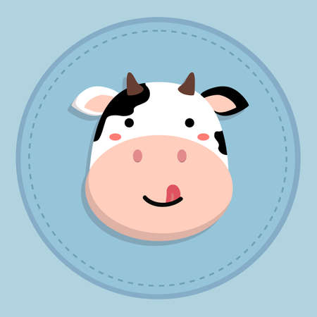 cute cow cartoon sticking tongue out on blue circle background vector illustration Illustration