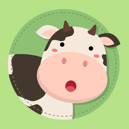Cute Cow Moo Face Cartoon on Green Circle Background vector illustration