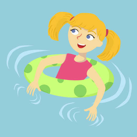 A cute little girl swim by holding on float in swimming pool  vector illustration. Illustration