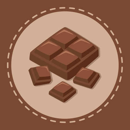 Cocoa Chocolate Bar on Brown Dotted Line Background Vector Illustration