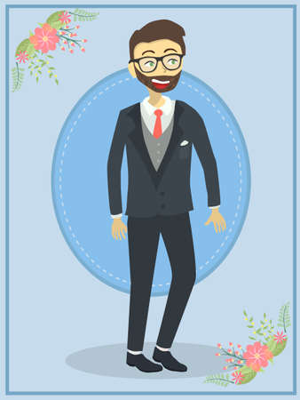 Groom with black tuxedo wedding on blue theme background