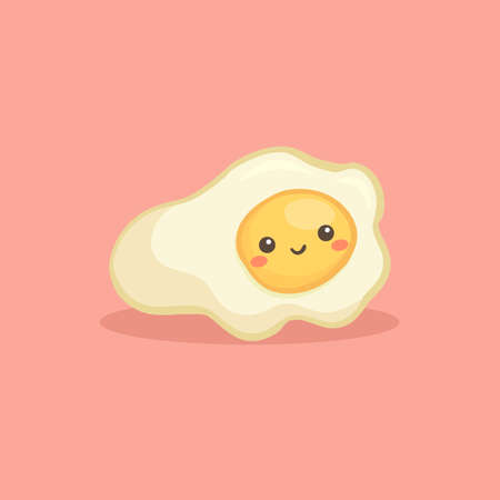 Cute Sunny Side Up Fried Egg Breakfast Food Vector Illustration Cartoon