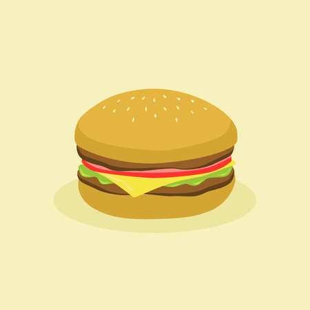 Fast Food Hamburger burger with meat, tomato, cheese, and lettuce on cream background vector illustration