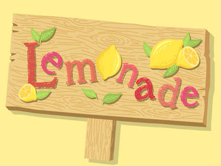 Illustration of a wood sign board of lemonade advertising on yellow background.