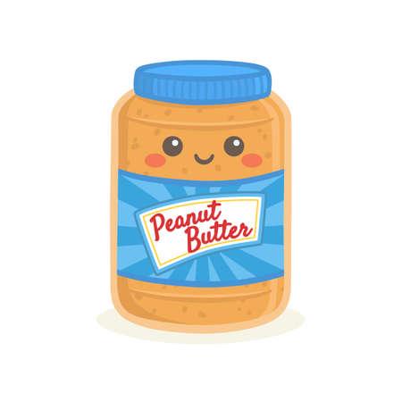 Niedliche Erdnussbutter Flasche Glas Vektor Illustration Cartoon Lächeln Vektorgrafik