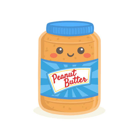 Cute Peanut Butter Bottle Jar Vector Illustration Cartoon Smile