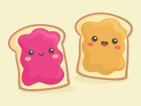 Lindo sándwich de pan de mantequilla de maní y mermelada de jalea ilustración vectorial sonrisa de dibujos animados