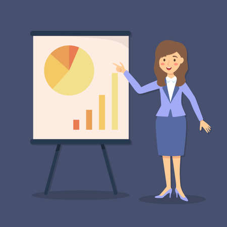 Vector illustration of businesswoman giving presentation with pie chart and bar graph on blue background.