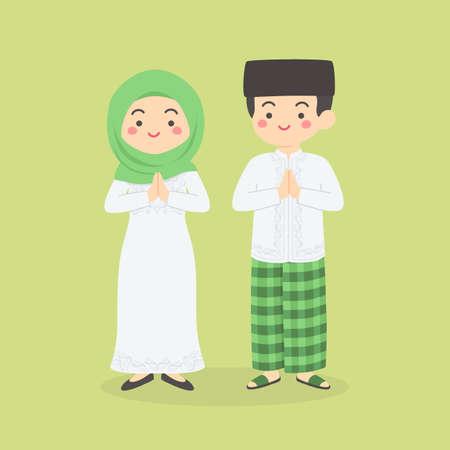 Eid Al Fitr, Eid Mubarak, Ramadan Kareem Carte De Voeux Homme Femme Personnage De Dessin Animé Illustration Vectorielle Vecteurs