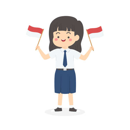 Cute Indonesian Junior High School Girl Student with Blue and White Uniform Holding Flag, Indonesia Independence Day Cartoon Vector Illustration