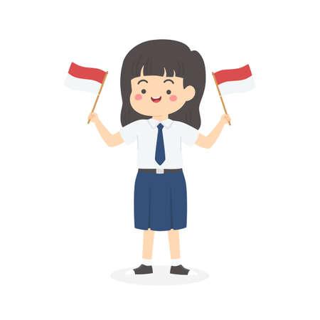 Mignon Indonésien Junior High School Girl Student avec uniforme bleu et blanc tenant le drapeau, Indonésie Jour de l'Indépendance Cartoon Vector Illustration