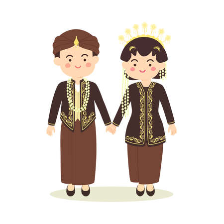 Central Java Indonesia Wedding Couple, cute Indonesian Black Javanese traditional clothes costume bride and groom cartoon vector illustration