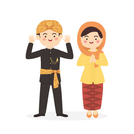 Betawi Jakarta Indonesia Pareja, lindo Abang Ninguno ropa tradicional traje hombre mujer dibujos animados vector ilustración