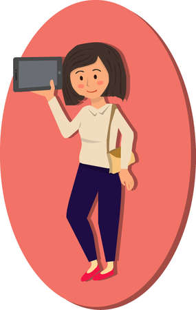 Woman holding digital tablet on pink background vector illustration cartoon Illustration