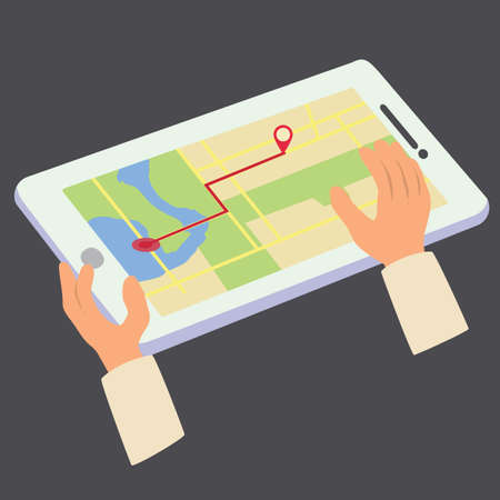Using GPS to search place in the map. Tablet GPS to search place on the map vector illustration
