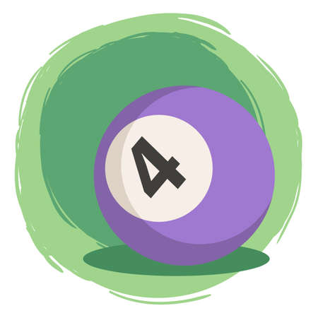 Purple Billiard Ball number 4 four vector illustration isolated on green white background