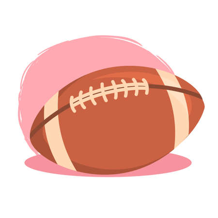 American Football Rugby Ball isolated on pink white background vector illustration