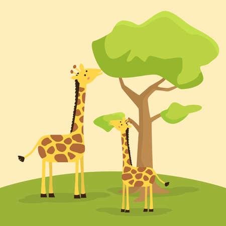 Giraffenmutter lehrt Babygiraffe, die Blatt auf Baumvektorillustration isst Vektorgrafik