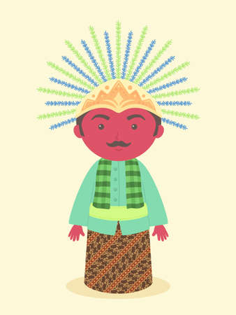 Ondel-ondel Jakarta Anniversary Tradicional símbolo de la mascota de la marioneta del diseño de personajes de dibujos animados de ilustración vectorial de Indonesia
