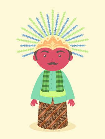 Ondel-ondel Jakarta Jubiläum Traditionelle Puppen Maskottchen Symbol aus Indonesien Vektor Illustration Cartoon Charakter Design