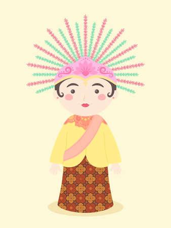 Ondel-ondel Jakarta Símbolo de la mascota de la marioneta tradicional de Indonesia diseño de personajes de dibujos animados de ilustración vectorial