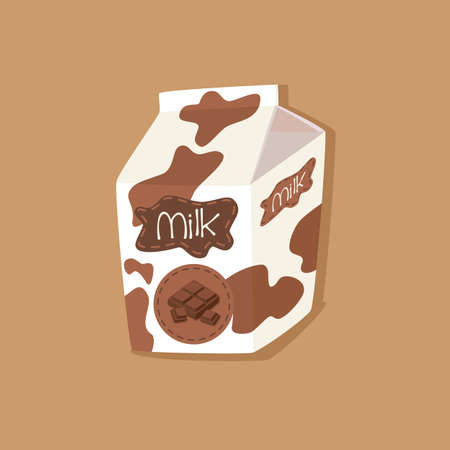 Milk Packaging Carton Spotted Chocolate Flavored on Brown Background Vector Illustration Vectores