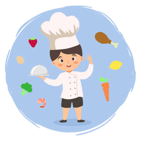 Vector illustration of a boy in chef uniform hat holding food tray surrounded by ingredients isolated on blue background. Stock Illustratie