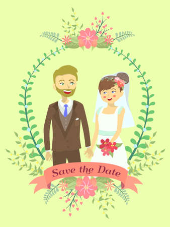 Wedding invitation with bride and groom holding their hand on flower theme and yellow background.