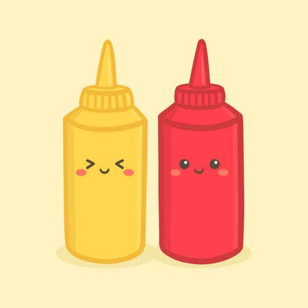 Słodkie Musztarda Pomidor Ketchup Butelka Ilustracja Wektorowa Postać Kreskówki Uśmiech Ilustracje wektorowe