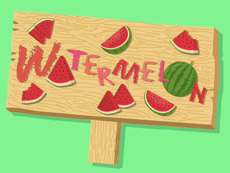 Watermelon Fruit Sign Board Vector Banque d'images - 131230999