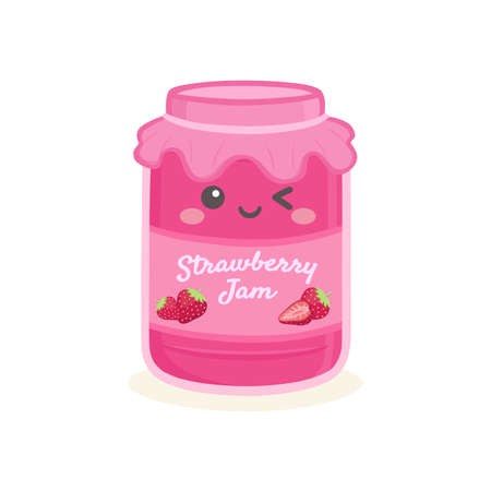 Cute Strawberry Jelly Jam Bottle Jar Vector Cartoon 向量圖像