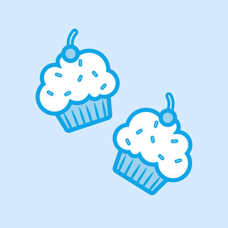 Cupcakes Muffin Vector Icon Simple Blue  イラスト・ベクター素材