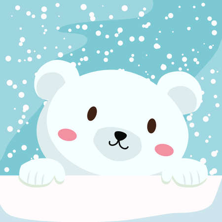 Close up picture of a cute polar bear hold on to the ice in snow day.