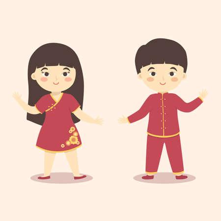 Cute Chinese Kids Boy Girl Costume Chinese New Year Cartoon Vector Çizim